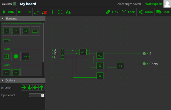 simulator.io - Build and simulate logic circuits